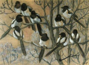 'Magpies Roosting', Charles Frederick Tunnicliffe, oil on card.